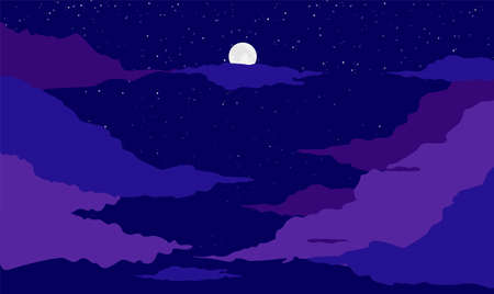 Moon on night dark blue background. Bright space landscape with purple clouds galactic luminous infinity constellations and nebula in moon vector light beautiful astronomical space.