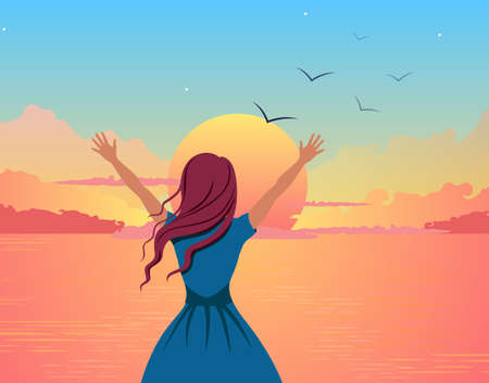 Girl joyfully greets sunset illustration. Beautiful cartoon girl on background of orange sea raises her hands up welcoming pink sun disk on blue vector sky with stars.