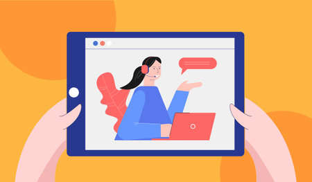 Online lectures and consultations illustration. Webinar on tablet for training and presentation digital seminar at distance consultation vector knowledge information network. Vectores