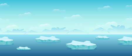 Floating ice floes in sea. Blocks of ice floating from arctic cold compressed snow global climate warming northern water landscape huge white polygon on blue background vector water.