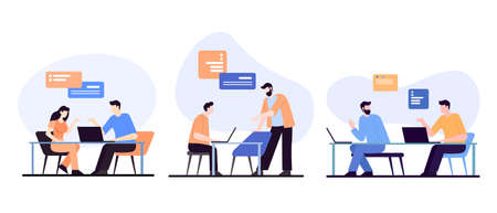 Programmers behind new project illustration. Group of it specialists working on creation of company website professional coding and modern software information training vector design.