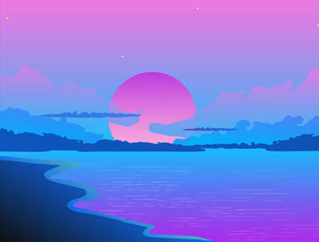 Evening sunset on sea beach landscape. Purple sun hiding behind dark blue clouds against backdrop of purple ocean tide waves tropical vacation on coast vector. Vectores