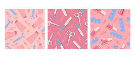 Pedicure and manicure tools seamless pattern. Scissors and files for nail stylish care beauty and hygiene in cosmetology relaxing dermatological treatments and relaxation beauty vector.