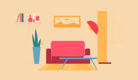 Home interior for rest and work. Comfortable red sofa with soft upholstery coffee table books and large lamp for full lighting long green houseplant bush stylish vector landscape painting.