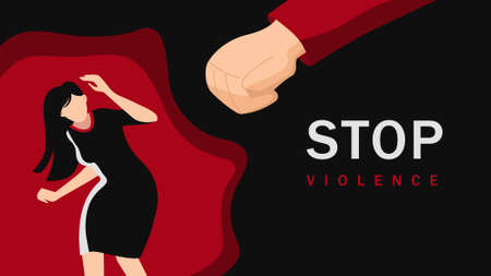 Stop oppression bulling of women illustration. Abuse and suppression of harassment and violence against weaker sex depression and pain vector girls bullying of men under tacit consent. Vectores