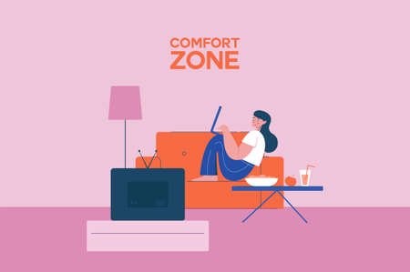 Comfortable work area illustration. Cozy place for freelancer female character on couch with laptop is comfortably located vector workspace for relaxation.