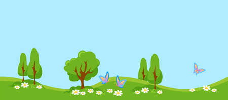 Green meadow with butterflies. Summer landscape with young trees and foliage white daisies colorful insects beautiful rainbow wings flutter over flowers lush blooming vector pasture.