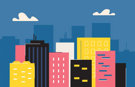 Abstract city with skyscrapers. Urban city center with highrise business offices and hotels color flat design an animated modern metropolis building exterior of metropolitan vector life. Vectores