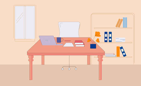 Workplace in business office. Comfortable chair at table with laptop and documents large bright window with shelving typical day for an office manager in cozy vector office.
