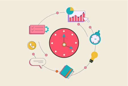 Time business management concept. Control web infographics and workforce digital data computing with graphical strategy electronic vector size development and planning.
