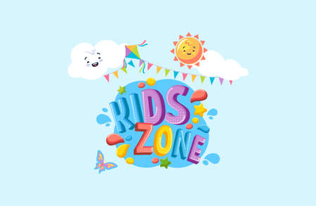 Kids zone play banner. Playground for children with games and cartoons colorful happy place of leisure bright  playroom fun entertainment for very vector young.