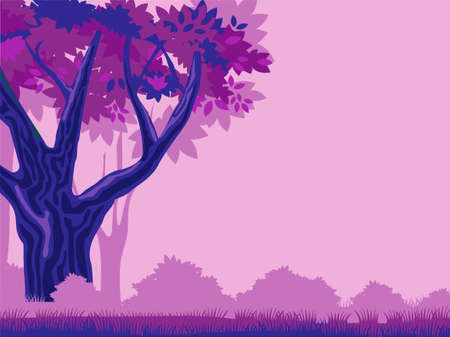 Mystical purple forest template. Pink fog mysterious dark blue trees with red foliage magical space silhouettes of distant thickets impenetrable vector thicket closed by magic for thousands years.
