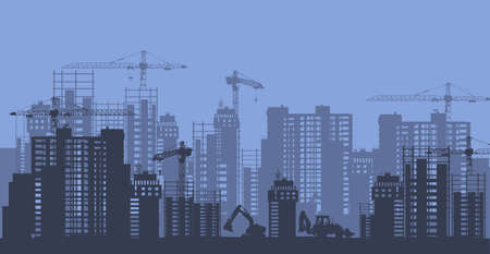 Construction and development of megalopolis silhouette. Building of business centers and residential skyscrapers in new city quarter high rise of vector houses under construction.