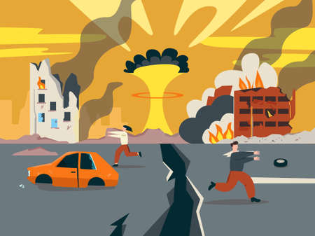 Doomsday in ruined city illustration. Last days of apocalypse nuclear explosion with split city road and people scattering in panic ruins of buildings and burning vector debris.