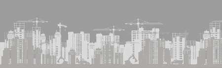 Development and building of urban silhouette. Construction of business centers and skyscrapers in new city quarter high rise cranes and equipment vector against. Illustration