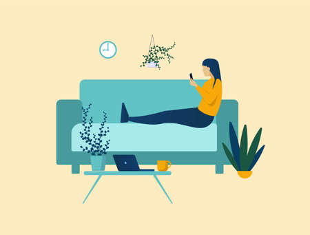 Manager puts off business project for later concept. Lazy character works with procrastination and lack discipline sitting couch during work hours. Irresponsibility destruction of set vector plans. Illusztráció