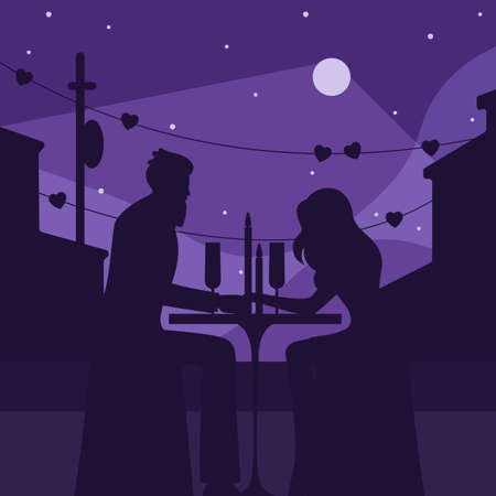 Romantic dinner with moon silhouette illustration. Characters in love sit restaurant table with candles in open area soft light purple light illuminates contours vector buildings beautiful cartoon.