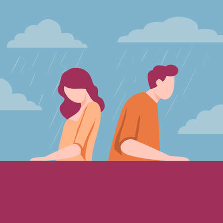 Break up between man and woman illustration. Girl guy characters sadly sit back to each other angry problems and disagreement withposition collapsing vector relationships.