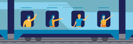 People in windows of train illustration. Happy characters waving their hands to those who see them off on peron long awaited vacation and fun trip to sea trip on windmill new job.