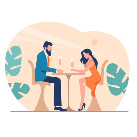 Romantic dinner at restaurant illustration. Happy characters are sitting at restaurant table with glasses of rose wine long awaited date of lovers beautiful flat relationship.