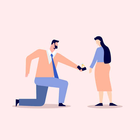 Romantic declaration of love illustration. Male character stands one knee and holds out wedding ring to happy girl long awaited vector date of lovers beautiful flat relationship. Illusztráció