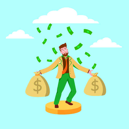 Wealthy businessman with bags of money illustration. Sudden jackpot huge financial profits and successful economy gold coins and paper cash reserves successful professional management vector.