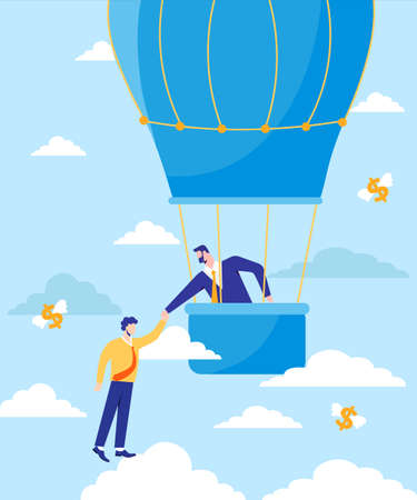 Financial assistance in business illustration. Insurance and successful program for overcoming crisis helping hand in banking from monetary growth and active cooperation in vector management. Illusztráció