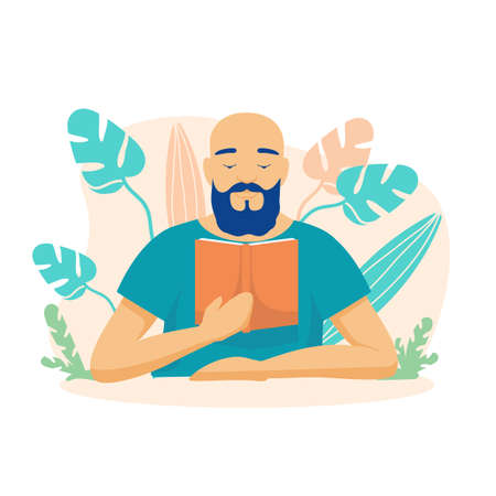 Male character is reading a book. Bald bearded man looks through science fiction in library with interest learning new knowledge discovering opportunities for self education pleasant vector leisure. Illusztráció