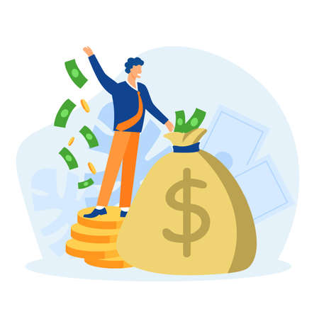 Rich manager with bag of money concept. Huge financial profits and successful economy gold coins and paper cash reserves successful professional management vector jackpot.
