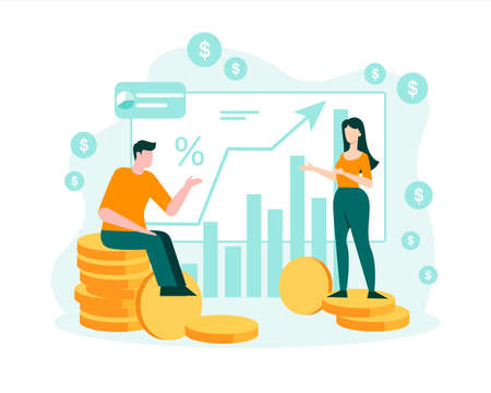 People watch stock exchange rise in stocks concept. Male and female characters look at growing flat quarterly cash flow charts marketing success and vector wealth. Illusztráció