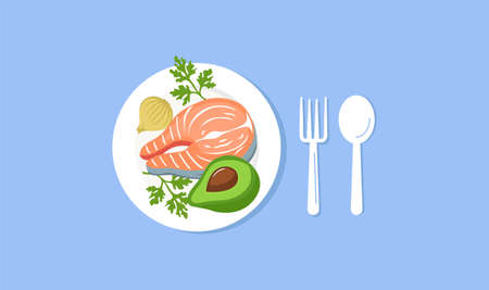 Dinner plate top view. Juicy fried salmon steak half of an appetizing green avocado served with salad delicious hearty dish fork and spoon quality mark restaurants and vector cafes.