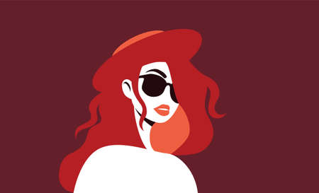 Mysterious woman in sunglasses. Stylish sexy girl with red hair and hat looks forward thoughtfully handsome character with daring vector face vintage secret agent. Illusztráció