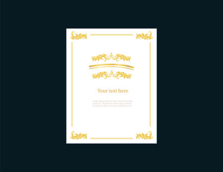 Sheet a4 empty with golden vintage frame template. Retro banner ornate on sides with ornaments calligraphic tracery in center blank center for your text magazine schedule Victorian vector laces.
