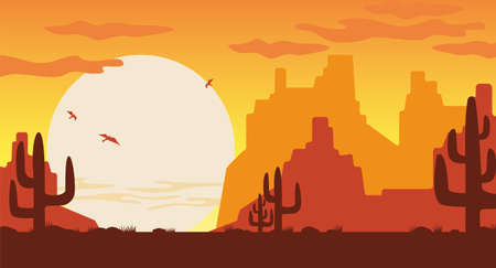 Wild west at sunset illustration. Orange silhouettes of Arizona mountains brown cactuses covered with sand dunes huge sun disc with swirling vultures vector Texas vector canyon.