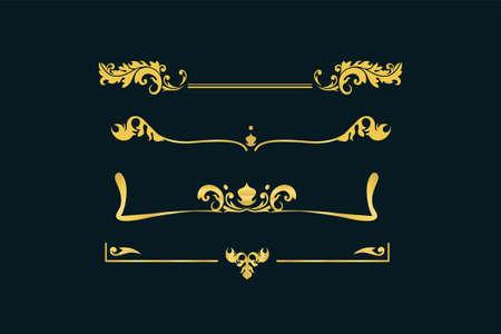 Gold vintage ornament set. Victorian retro floral pattern ornament baroque decorative element elegant classic filigree luxury antique element royal vector invitation. Illusztráció
