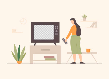 Woman watching tv illustration. Female character with remote control in living room turns smart device cozy rest after working day modern technological vector relaxation.
