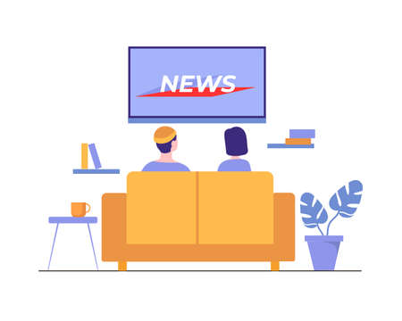 People watch news at home. Watching latest information events of day on TV in cozy living room comfortable yellow sofa modern video technologies for cognition and vector relaxation. Illusztráció