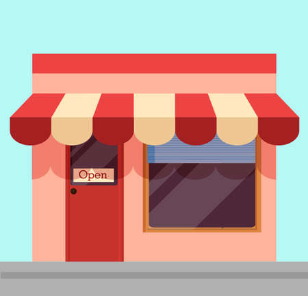 Open shop illustration. Cartoon shopping kiosk with white and red awning open to visitors information hanging message on doors of cafe simple effective vector advertising.