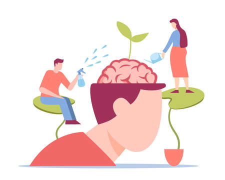 Intelligence growth concept. Gradual psychological development of character accurate watering with new creative knowledge and gradual growth of new seedlings of vector mind.