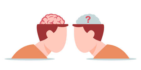 Competition creative intelligence with conventional concept. Confrontation between well read intellect and weak mind motivation for knowledge abilities and development of mental vector.