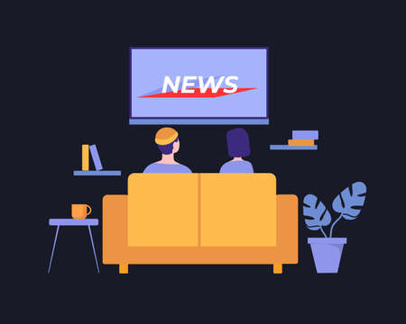 People watch news illustration. Watching latest information events of day on TV in cozy living room at home comfortable yellow sofa modern video technologies for relaxation cognition vector.