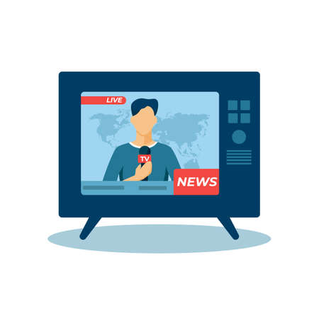 Live news illustration. Host character reports on latest events in world work of professional communication journalists streaming of global incidents in every vector house. Illusztráció
