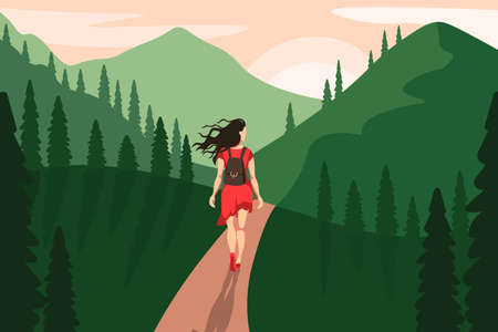 Woman walking on forest road illustration. Female character in red dress and with backpack travels through green mountainous area difficult path through life vector circumstances.