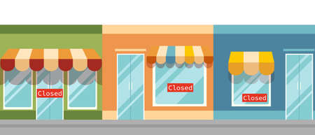 Closed shops illustration. Retail financial crisis due pandemic bankruptcy and failed business project notice red sign on cartoon stores symbol of unsuccessful vector marketing. Illusztráció