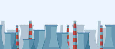 Industrial horizontal landscape. Oil refineries with toxic production departments huge structures chemical stations factories with powerful pipesof areas that pollute vector environment.