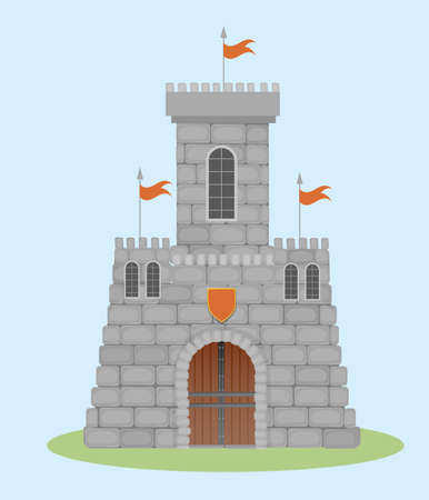 Medieval watch citadel illustration. Powerful stone walls with loopholes and orange shield over entrance defensive fortification strategic road confident defense and beautiful vector architecture.