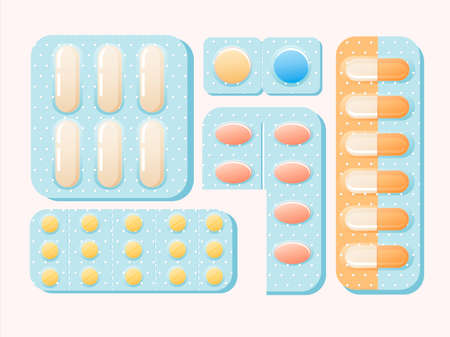 Blisters with pills and capsules illustration. Medicinal pain reliever powerful antibiotics red small yellow sedatives pharmaceutical treatment and restoration damaged vector organs.