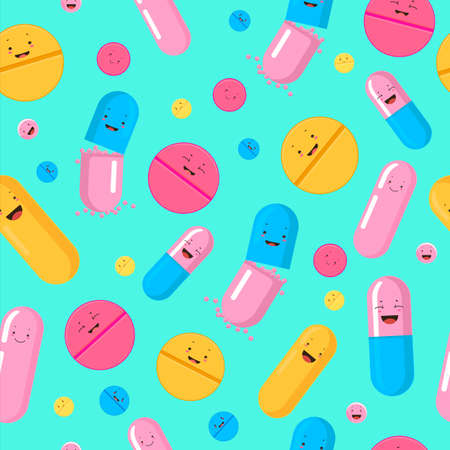 Funny pills seamless pattern. Red yellow cute smiling medicines pink blue antibiotic capsules fighting infections and viruses vector human health pharmaceutical kit.