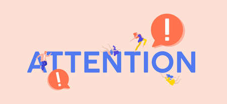 Attention exclamation point illustration. Marketing warning about business events symbol of caution in actions priority advertising for latest promotions and vector flat discounts. Vectores