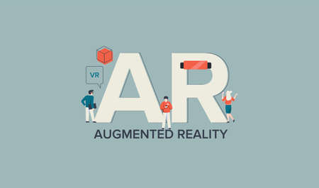 AR augmented virtual reality. Modern digital technology visual applications assistance in business corporate solutions creative graphic form used in gadeets vr vector entertainment work concept.